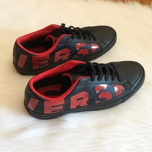 Converse Shoes - Converse Black Leather Red Typography Sneakers